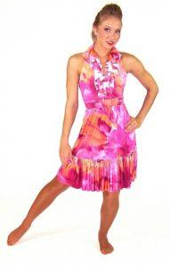 PINK/ORANGE WATERCOLOR DRESS