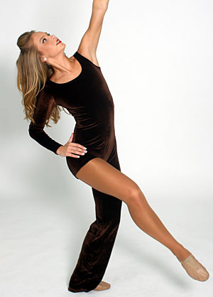 BROWN VELVET UNITARD..