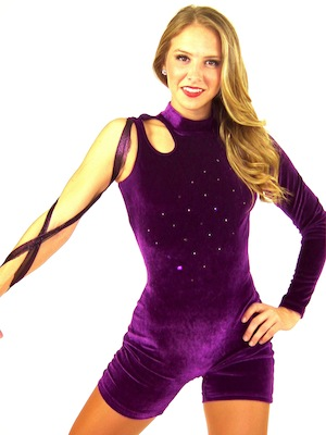 PURPLE VELOUR BIKETARD WITH METALLIC MESH GAUCHOS