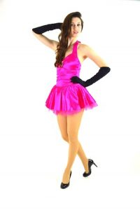 HOT PINK SATIN HALTER DRESS WITH PETTICOAT