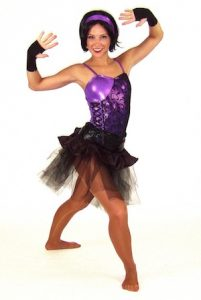 PURPLE METALLIC LEOTARD WITH RUFFLE SKIRT AND TUTU