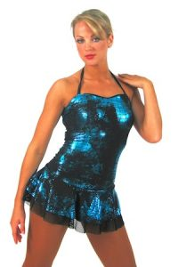 BLUE METALLIC SNAKESKIN DRESS