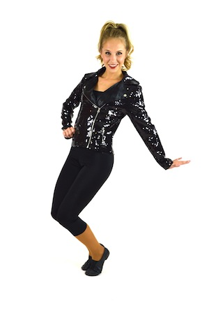 BLACK SEQUIN JACKET AND CAPRI
