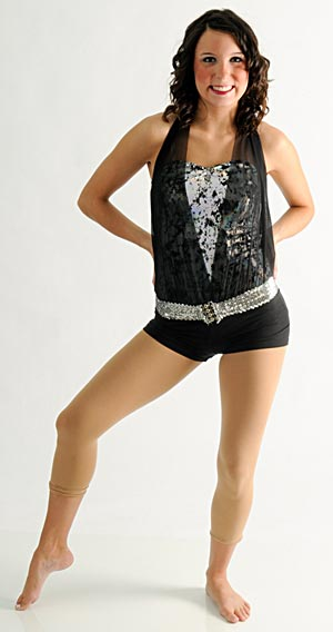 BLACK AND SILVER HALTER LEOTARD