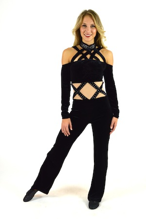 BLACK VELOUR UNITARD