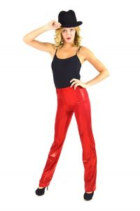 RED METALLIC HIGH WAISTED PANTS
