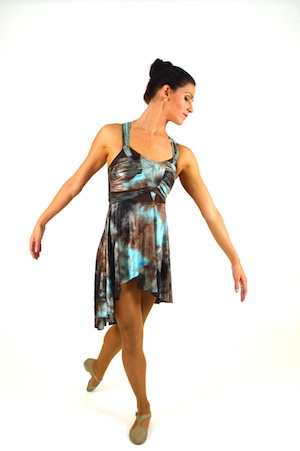 BROWN AND TEAL WATERCOLOR DRESS