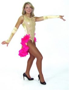 GOLD AND PINK CHORUS GIRL..