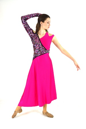 LONG PINK DRESS WITH SEQUINS