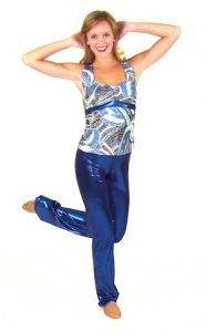 BLUE SWIRL METALLIC TOP AND PANTS