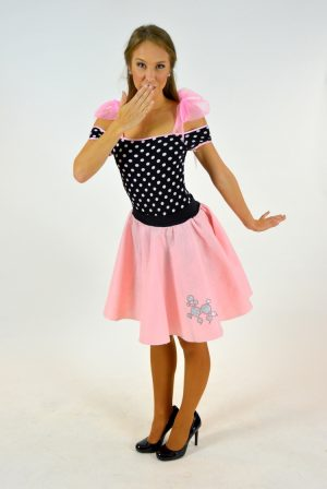 92a5e1459c921 PINK POODLE SKIRT WITH POLKA DOT LEOTARD | The Costume Closet