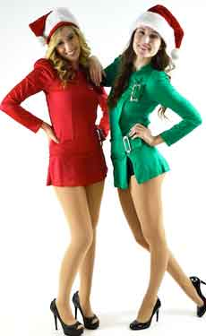 two dancers with holiday dance costumes and santa hats