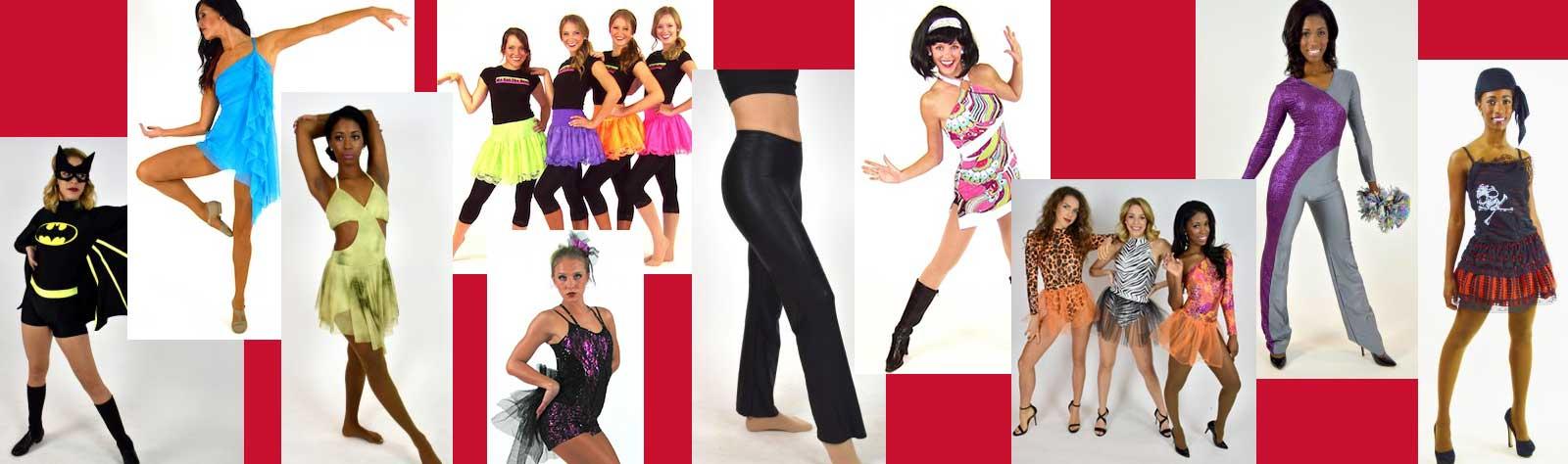 examples of sale items including batgirl costume dance dresses, leotards and black dance pants